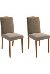 Conjunto Com 2 Cadeiras De Jantar Vanessa Suede Madeira E Joli