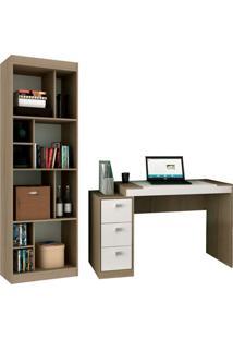 Escrivaninha Com Estante Home Office I Avelã E Branca