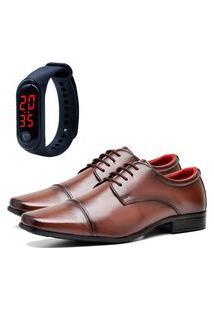 Sapato Social Elegant Com Relógio Led Fine Dubuy 807La Marrom