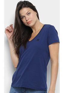 Camiseta Ellus 2Nd Floor Lisa Gola V Feminina - Feminino-Azul Royal
