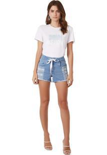 T-Shirt Morena Rosa Gola Redonda Com Silk Branco