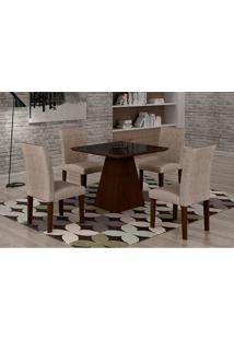 Conjunto De Mesa De Jantar Luna Com 4 Cadeiras Ane Ii Suede Amassado Castor, Preto E Chocolate
