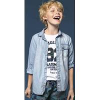 Camisa Jeans Infantil Menino Com Lavação Clara Hering Kids ec64e8ae12ab