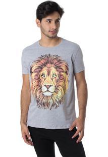 Camiseta Família Leão Gola Redonda Thiago Brado 1107000001 Cinza