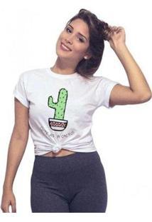 Camiseta Joss Básica Cactus Feminina - Feminino-Branco