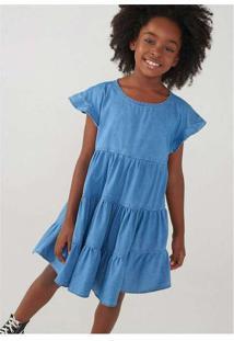 Vestido Jeans Infantil Com Recortes Azul