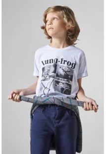 Camiseta Infantil Estampada Kung Frog Reserva Mini Masculina - Masculino-Branco