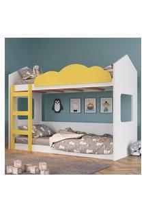 Beliche Infantil Casinha Com Escada Branco E Amarelo Lilies