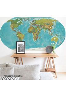 Grudado Adesivo De Parede Mapa Azul & Verde 90X180Cm