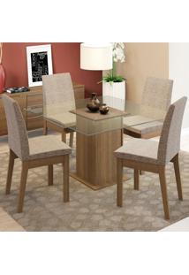 Conjunto Sala De Jantar Madesa Luma Mesa Tampo De Vidro Com 4 Cadeiras Marrom - Marrom - Dafiti