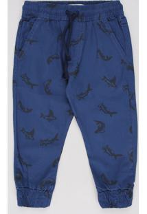 Calça De Sarja Infantil Jogger Estampada De Tubarões Com Bolsos Azul Marinho