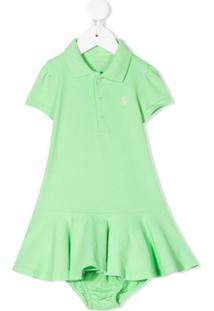 Ralph Lauren Kids Vestido Polo Com Logo Bordado - Verde