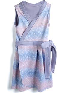 Vestido Brandili Mundi Estampa Azul