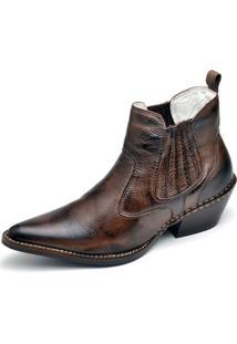 Bota Country Masculina Bico Fino Top Franca Shoes Marrom