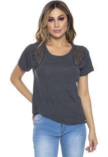 T-Shirt Cavallari Aplique Asa Ombros Mescla