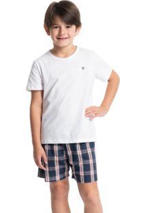 Pijama Infantil Masculino Curto Xadrez Náutico