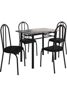 Conjunto De Mesa Genebra C/ 4 Cadeiras Alicante Preto Fosco Fabone Móveis