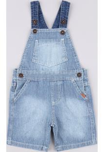Jardineira Jeans Infantil Listrada Com Bolsos Azul Médio