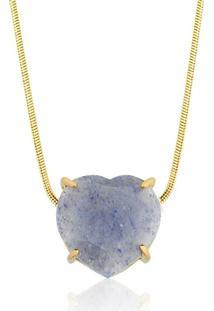 Colar Toque De Joia Coração Pedra Natural Quartzo Azul Amarelo - Kanui