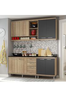 Cozinha Compacta 8 Portas 3 Gavetas Sicilia 5819 Premium Argila/Grafite - Multimóveis