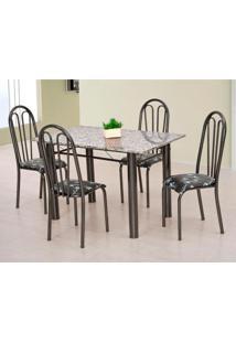 Conjunto De Mesa Carla Com 4 Cadeiras Craqueado Preto Flor