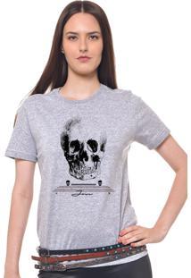 Camiseta Feminina Joss Caveira Cranio Cinza Mescla