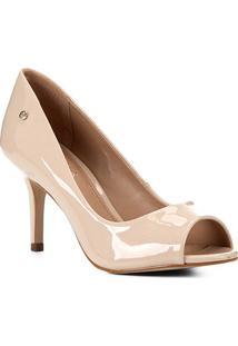 Peep Toe Shoestock Salto Médio Verniz Naked - Feminino-Macadamia