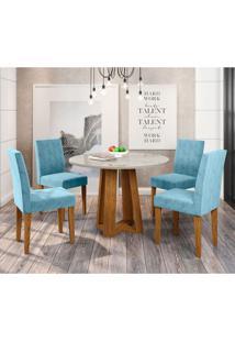 Conjunto De Mesa De Jantar Isabela Com 4 Cadeiras Estofada Giovana Pena Branco E Azul