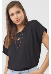 Camiseta Colcci Lisa Preta - Preto - Feminino - Viscose - Dafiti