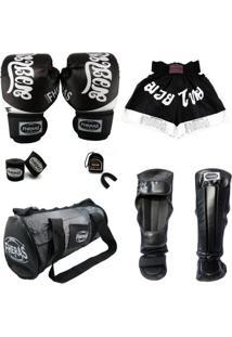 Kit Muay Thai Top Luva Bandagem Bolsa Bucal Caneleira Shorts 08 Oz Tailândes - Masculino