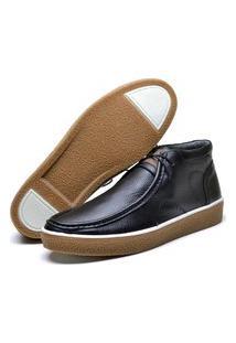 Sapato Cacareco Fepo Store Em Couro Palmilha Espumada Liso Preto