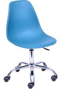 Cadeira Dkr Com Rodízios Azul Petróleo