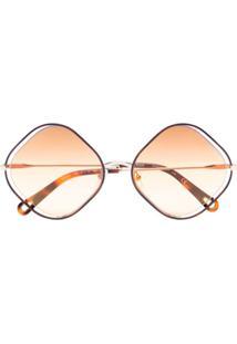Chloé Eyewear Poppy Diamond-Frame Sunglasses - Marrom