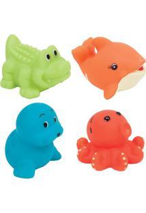 Jogo De Brinquedos Para Banho- Verde & Azul- 4Pçs