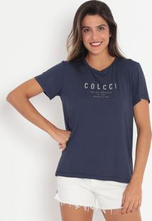 "Camiseta ""Loving Yourself""- Azul Escuro & Branca- Cocolcci"