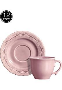 Conjunto 6 Xícaras De Chá Romantic Rosa Scalla