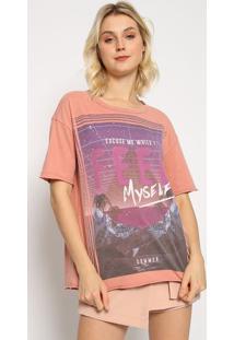 "Camiseta ""Excuse Me While I Feel Myself""- Marrom & Roxa"