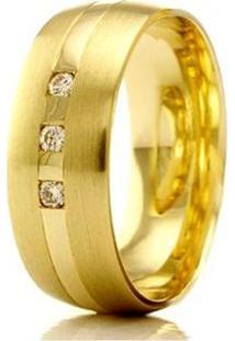 Aliança De Casamento Feminina Em Ouro 18K 750 Wm Joias 5,2Mm Com Zircônia F2356 - Feminino-Dourado