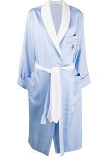 Ermanno Scervino Casaco Com Listras E Cinto - Azul
