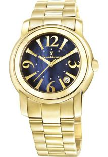 Relógio Analógico Jv01007- Dourado & Azul Marinho- Jjean Vernier