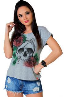 Camiseta Wevans Caveira Rosas Cinza