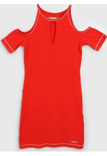 Vestido Colcci Fun Infantil Off-Shoulder Laranja
