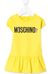 Moschino Kids Vestido Com Babados E Estampa De Logo Teddy - Amarelo
