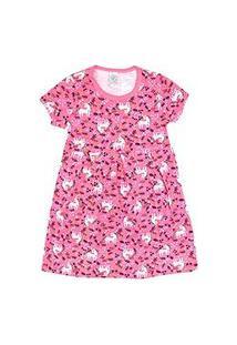 Vestido Infantil Manga Curta Cotton Rosa Unicórnio (4/6/8) - Kappes - Tamanho 4 - Rosa
