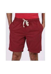Bermuda De Sarja Masculina Reta Com Cordão E Bolsos Vermelha