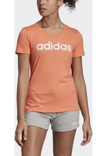 Camiseta Adidas Brush Effect Logo Graphic Feminina - Feminino-Laranja