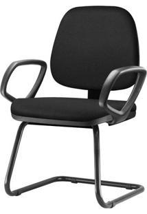 Cadeira Job Com Bracos Fixos Assento Courino Base Fixa Preta - 54546 Sun House