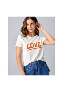 Amaro Feminino T-Shirt Love, Off-White