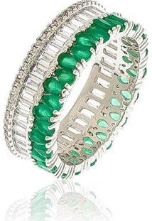 Anel Meia Aliança Com Zircônias Verdes E Cristal 19