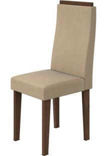 Cadeira Dafne Veludo Naturale Creme Imbuia Soft